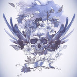 Abstract Background with Skull, Wings and Flowers Stock Photography