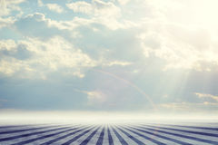 Abstract background is sky with clouds and stripes Royalty Free Stock Image