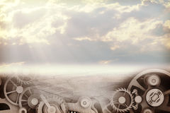 Abstract background with sky and watchwork Royalty Free Stock Photography