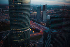 Abstract background of skyscrapers at night in Moscow. Panorama the evening city Royalty Free Stock Photos