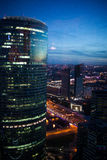 Abstract background of skyscrapers at night in Moscow. Panorama the evening city Stock Images