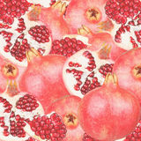 Abstract background with slices of fresh pomegranate. Seamless pattern for a design Royalty Free Stock Image
