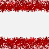 Abstract background with snow and snowflake red borders. Abstract winter seasonal background with frame of snow and snowflake red borders, design for christmas royalty free illustration
