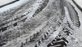 Abstract background. Snow traces on the road 2/ Stock Photos