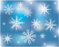 Abstract background with snowflakes. Abstract blue background with snowflakes Royalty Free Stock Images