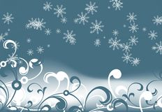 Abstract_background_with_snowflakes_and_floral_elements Stock Photography