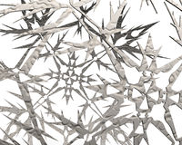 Abstract background of snowflakes fragments. 3D Illustration Stock Image