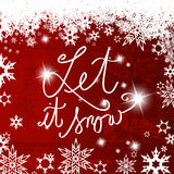 Abstract background with snowflakes and Let it snow text. In center Stock Photos