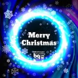 Abstract background snowflakes Merry Christmas. Background snowflakes. Merry Christmas on multicolor gradient background. Vector illustration. Bokeh effect stock illustration