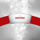 Abstract background with snowflakes and red stripe with plance f Royalty Free Stock Photography
