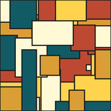 Abstract background in solid muted colors. Of yellow, tan, blue and dark orange & x28;brick color& x29 stock illustration