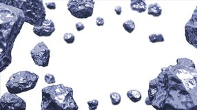 Abstract background in the space with cold silver blue asteroids. Copyspace empthy area. Can be used as a decorative greeting grun. Gy or postcard framing for Stock Images