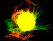 Supernova explosion on black backdrop. Abstract background. Space sun. Glowing star in blackness. Chaotic flames. Solar storm. Futuristic design. Yellow yolk in Stock Photos