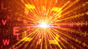 Abstract background from sparkling sun rays. An optimistic 3d illustration of spinning yellow letters with capital E, V, W, passing through a square portal with Royalty Free Illustration