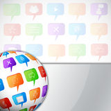 Abstract background with sphere. With social speech bubbles royalty free illustration