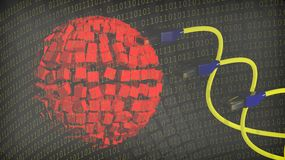Abstract background with sphere. Binary numbers and internet cables royalty free illustration