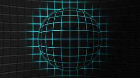 Abstract background sphere with blue light. Gray sphere made up of square tiles with blue light coming between them Stock Illustration