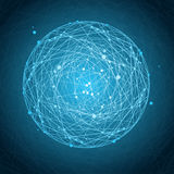 Abstract Background with Sphere. Abstract Background with Blue Sphere and Lines. Space concept royalty free illustration