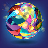 Abstract background with a sphere of colorful triangles Stock Image