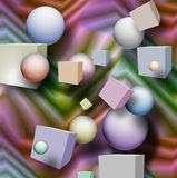 Abstract background with sphere and cubes. Abstract background with cubes and sphere stock illustration