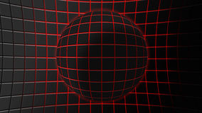 Abstract background sphere. Gray sphere made up of square tiles with red light coming between them Vector Illustration