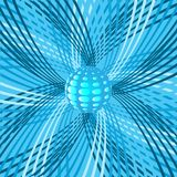 Abstract background with sphere and rotating beams Royalty Free Stock Photo