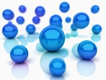 Abstract background with spheres. Abstract background with blue spheres (depth of field royalty free illustration