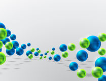 Abstract background with spheres. Abstract background with blue and green shiny spheres Stock Photography