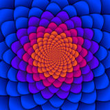 Abstract background. Spiral flower pattern in red and blue. Abstract Lotus Flower. Esoteric Mandala Symbol. Vector illustration vector illustration