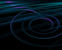 Abstract background. Spiral and straight lines on black Vector Illustration