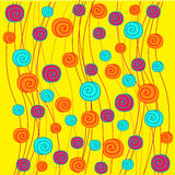 Abstract background with spirals. On the yellow phone royalty free illustration