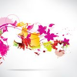 Abstract background with splash and flowers Stock Photos