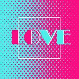 Abstract background 47. Square abstract background with halftone pattern in neon colors. Gradient texture made of heart shapes. Design template of flyer, banner Royalty Free Stock Photo