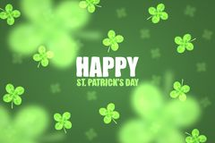 Abstract background for St. Patrick`s day. Clover leaves in the foreground and background blurred. vector illustration
