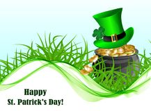 Greeting card for St. Patrick`s Day. Abstract background for St. Patrick`s Day with a pot of gold, a green leprechaun hat on a green grass royalty free illustration