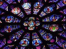Abstract Background: Stained Glass Window Notre Dame de Paris,
