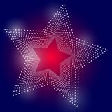 Abstract background with star from dots on blue. Abstract background with star from dots on blue red stock illustration