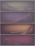 Abstract background, star wind set. Set of 4 simple abstract headers with gradients, lines and flashes stock illustration