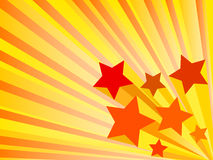 Abstract background with stars. Abstract orange background with red 3d stars Stock Image