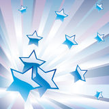 Abstract background with stars. The blue star on a background of colored rays Royalty Free Stock Photography