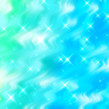 Abstract background with stars. Abstract light blue green flowing background with stars Stock Photo