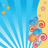 Abstract background with stars and swirls. And blue stripes vector illustration