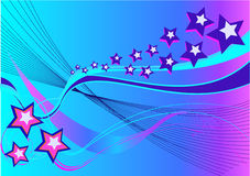 Abstract Background with stars and waves. In blue, pink and violet Stock Photography