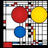 Abstract background. In style of a cubism, red, blue, yellow squares and rounds Stock Photography