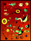 Abstract background, style Miro `French painter Stock Image
