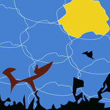 Abstract background in the style of stained glass with a fox, bird, sun. Stock Images