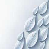 Abstract background with stylish gray 3d leaf. Conceptual background with plant and place for text. Trendy modern background. Vector illustration Stock Photography