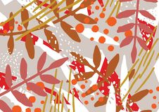 Abstract background with stylized autumn leaves and berries. Artistic motley colorful horizontal backdrop with natural. Seasonal decorations. Modern decorative Stock Photos
