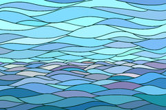 Abstract background with stylized wave and sky. Illustration like stained-glass window Stock Photos