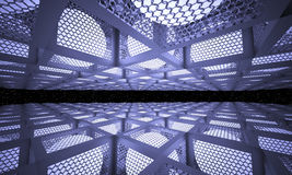 Abstract background on the subject of space fiction. Luminous balls inside the metal boxes with the walls of the boxes of mesh netting Stock Image